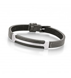 Men's steel IPB and leather bracelet