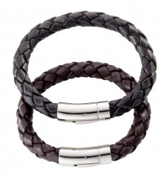 """Nile"" Black Leather Men's Bracelet"