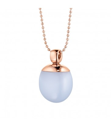 Pendant rose steel with chalcedony blue