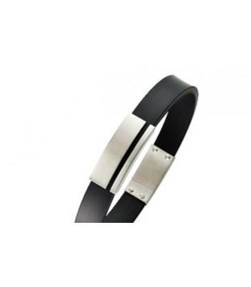 Bracelet man steel and rubber