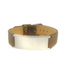 Men's steel and leather bracelet