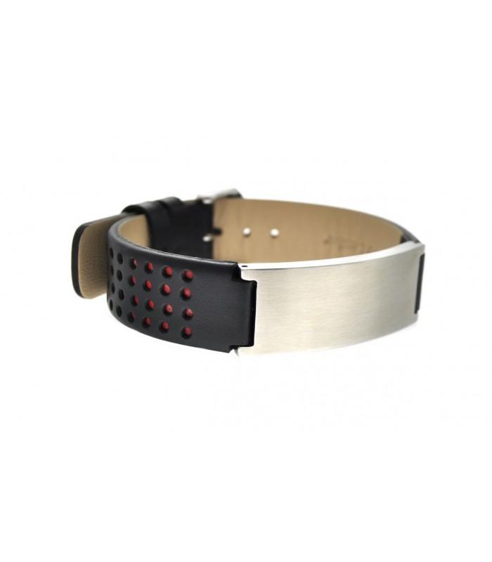Men's steel and leather bracelet