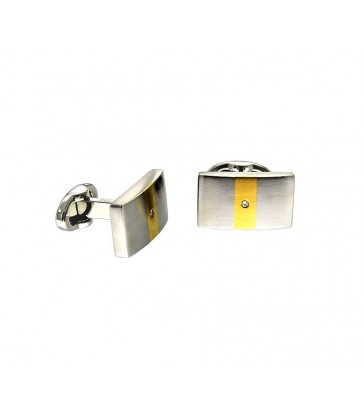 steel cufflinks, gold, diamond