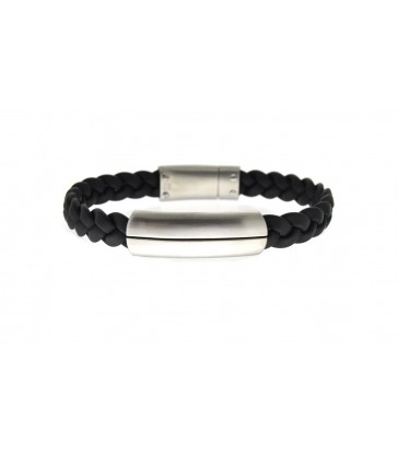 Bracelet man steel and rubber