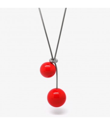 DOUBLE BALL NECKLACE - RED